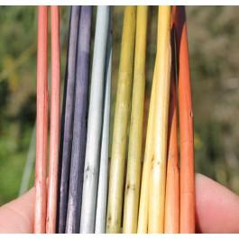 De gauche à droite garance, noix de galle, indigo, indigo + nerprun, nerprun, nerprun + cristaux de soude