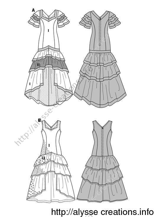 patron couture robe sevillane