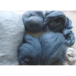 De gauche à droite, de haut en bas : coton (à gauche), angora (haut à gauche), alpaga, ramie ( droite), soie maulbère, protéine de lait (en bas), mohair, laine